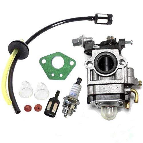 Queta, Carburatore per motore per decespugliatore 52 cc 49 cc 43 cc, kit carburatore con guarnizione, tubo, candela di accensione e filtro per benzina