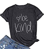 Be Kind T-Shirt Women's Graphic Printed Fashion Short Sleeve Tops Blouses Size US M/Tag L (Gray)