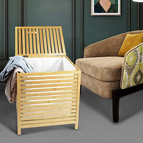 tonchean Home Bambus Wäschekorb faltbar und abnehmbar, platzsparender Aufbewahrungskorb mit Scharnierdeckel und maschinenwaschbarem Baumwoll-Canvas-Futter für Badezimmer