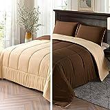 Exclusivo Mezcla Lightweight Reversible 3-Piece Comforter Set for All Seasons, Down Alternative Comforter with 2 Pillow Shams, Queen Size, Brown/Khaki