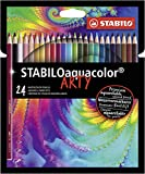 Crayon de couleur - STABILOaquacolor - Etui carton x24 crayons aquarellables -...
