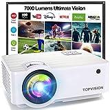 TOPVISION Proyector Cine en Casa de 7000 Lúmenes, 1080P Nativo Mini Proyector Portátil, Proyector...