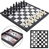 Peradix 3 en 1 Jeu d'échecs Magnétique et Pliable Echec Dames Backgammon...