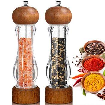 BOCHION Moulins à Poivre et Sel, Moulin a Poivre Acryl Transparent avec Réglables Broyeur à épices en Céramique, pour la Maison ou la Cuisine, 8 Pouces, Lot de 2, Marron
