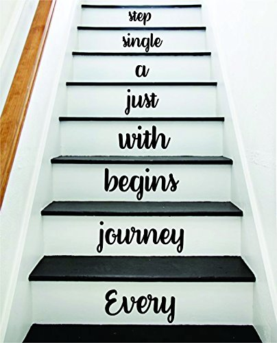 Boop Decals Every Journey V3 Stairs Quote Wall Decal Sticker Decor Room Art Vinyl Peace Family Home House Staircase Love Beautiful Inspirational Single Step