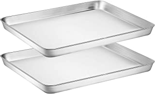Wildone Baking Sheet Set of 2 - Stainless Steel Cookie Sheet Baking Pan, Size 16 x 12 x 1 inch, Non Toxic & Heavy Duty & M...
