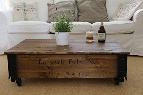 Tavolino basso, effetto baule, in legno, stile vintage shabby chic, in legno massello con finitura...