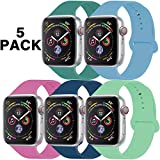 GZ GZHISY Pack 5 Sport Bands Compatible for Apple Watch Band 38mm 40mm, Soft Silicone Band Sport Strap Compatible for iWatch Series 5/4/3/2/1 (Pine/Cornflower/Dragon/Horizon/Spearmint, S/M)