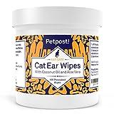 Petpost | Lingettes nettoyantes pour Oreilles de Chats - 100 compresses Ultra Douces à l'huile de Noix de...