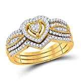 Jewels By Lux 10kt Yellow Gold Womens Round Diamond 3-Piece Heart Bridal Wedding Engagement Ring Band Set 1/3 Cttw Ring Size 7 (I2-I3 clarity; I-J color) round shape white diamond