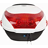 Motorbike Tour Tail Box Scooter Trunk/Rack Bag with Soft Backrest and Night Warning Light - 30L Capacity - Holds 1 Helmet Hard Case