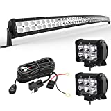 YITAMOTOR LED Light Bar 52 inches Curved Light Bar Combo & 2pc 18W LED Spot Pods Light & 12V Switch on&off Wiring Harness Compatible for Jeep, Pickup, SUV, Boat, Truck, 4x4, 4WD, IP68 Waterproof