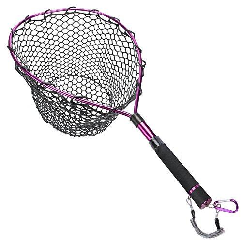 Goture - Retino da pesca a mosca, con clip magnetica, per pesca e sganciare trota  telaio in lega di alluminio con rete in gomma morbida