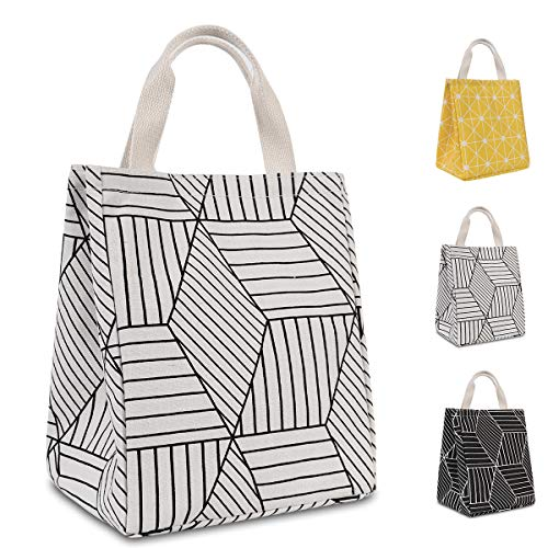 HOMESPON Reusable Lunch Bags Printed Canvas Fabric with Insulated Waterproof Aluminum Foil, Lunch Box for Women, Kids, Students (Geometric Pattern-White)