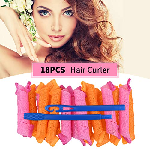 Hair Curlers Spiral Curls No Heat Wave Hair Curlers Styling Kit Spiral Hair Curlers Magic Hair Rollers with 1 Styling Hooks for Short/Medium/Long Hair Most Kinds of Hairstyles (Multi-Colored)