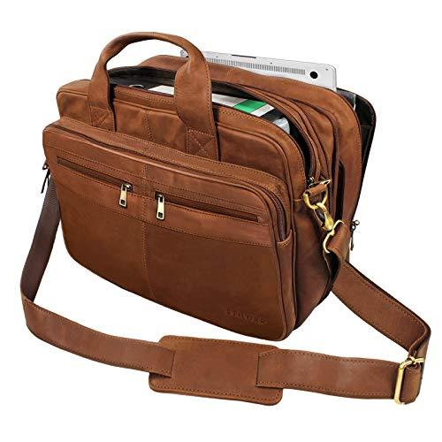 STILORD \'Alexander\' Lehrertasche Herren Leder Vintage Aktentasche Laptoptasche Bürotasche Businesstasche groß XXL Umhängetasche mit Dreifachtrenner, Farbe:Sattel-braun