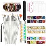 YZPUSI - Juego de brochas para decoración de uñas, diseño de decoración de uñas, adhesivos, cinta, ...