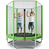 ACWARM HOME 6FT Trampoline for Kids with Safety Enclosure Net, Jumping Mat, Safety Pad, Mini Indoor or Outdoor Backyard Round Trampolines (Green)