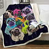 Sleepwish Sherpa Fleece Bed Throw Colorful Pugs Pop Art Style Print Soft and Fuzzy Plush Blanket Gifts for Pet Animals Puppy Dog Lovers Throw(50'x60')