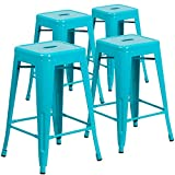 Flash Furniture Commercial Grade 4 Pack 24' High Backless Crystal Teal-Blue Indoor-Outdoor Counter Height Stool
