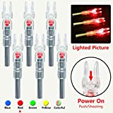 XHYCKJ 6PCS S Led Lighted Nocks for Arrows with .244' Inside Diameter,Screwdriver Included (Red)