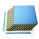 Tangkula 12 Pieces EVA Exercise Floor Mats with Border, 1/2' Interlocking Soft Foam Puzzle Play Mats, Protective Flooring Mat Set for Gym Equipment for Yoga, Outdoor Workouts, Kids, 52 SqFt (Multi-color)