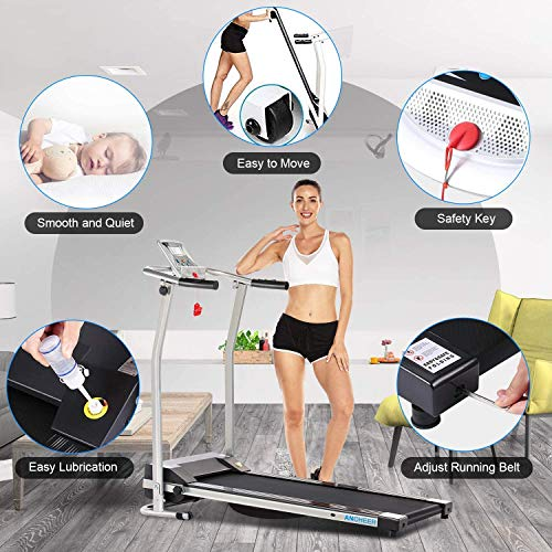 ANCHEER Treadmill, Electric Treadmills for Home with LCD Monitor Walking Running Machine Equipment for Home Gym (Sliver) 4