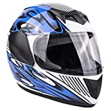 Typhoon Youth Full Face Motorcycle Helmet Kids DOT Street - Ships Same Day - Blue (Small)