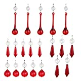 H&D Red Crystal Icicle Pendant Chandelier Ball Prisms Drops Lamp Candle Holders Curtain DIY Parts,Pack of 20