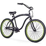Firmstrong Bruiser Man 3-Speed Beach Cruiser Bicycle, 26-Inch, Matte Black/Green Rims