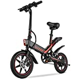 Electric Bike, Sailnovo Electric Bicycle with 18.6mph 28 Miles Electric Bikes for Adults Teens E Bike with Pedals, 14' Waterproof Folding Mini Bikes with Dual Disc Brakes, 36V 10.4Ah Lithium Battery