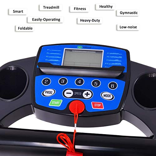 Goplus 1100W Electric Folding Treadmill, with LCD Display and Heart Rate Sensor, Compact Running Machine for Home 9