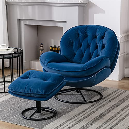 Velvet Swivel Accent Chair with Ottoman Set, Modern Lounge Chair with Footrest, Comfy Armchair with 360 Degree Swiveling for Living Room, Bedroom, Reading Room, Home Office, Metal Base Frame (Blue)