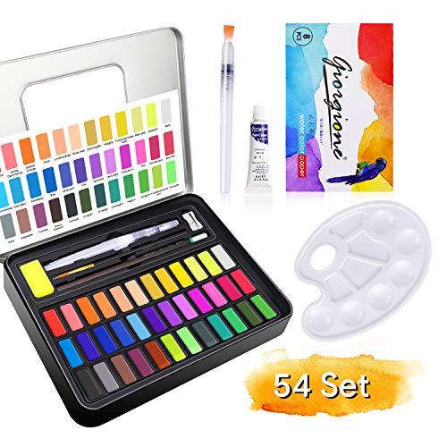 Telgoner Aquarellfarben, 36 Wasserfarben Set, Aquarellfarbkasten mit 10 Aquarellpapier, 2 Wassertankpinsel, 1 Pinsel, 1 Bleistift, Geeignet für Anfänger, Studenten und Kinder