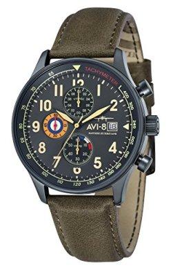 AVI-8 Men's Hawker Hurricane 42mm Green Leather Band IP Steel Case Quartz Gun Metal Dial Watch AV-4011-0E