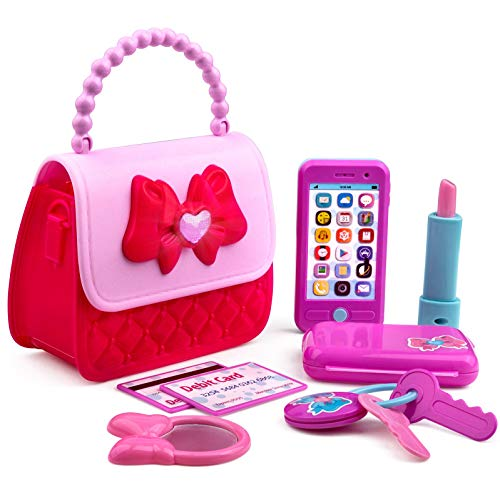 51ejZ9i3cdL COMPLETE PURSE: This Playkidiz purse set is the perfect purse to take to the ball, or the ballgame, it includes everything your child needs for their first pretend play purse set. COOL ACCESSORIES: Pink purse filled with realistic accessories sized perfectly for small hands. Includes heart button that lights up, phone with sound, keys, lipstick, and much more. REALISTIC DETAILS: All fun with none of the mess! All princess accessories look just like the real thing, and this girls purse has all essentials that mom would usually carry