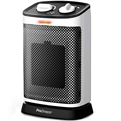 Pro Breeze 1500W Mini Oscillating Ceramic Space Heater - Rotates 70° with 6 Operation Modes, Adjustable Thermostat, Overheat Protection and Tip-over Switch for Home, Office, Bedroom and Under Desk