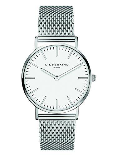 Liebeskind Berlin Damen Analog Quarz Uhr mit Edelstahl, Steel, silber-weiß