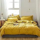 GETIYA Stilvoll Bettwäsche 200x200 Dunkel Gelb Einfarbige Bettwäsche 100% Gewaschene Baumwolle Bettbezug Set 3 Teilig Herren Damen Bettwäsche Gelb Basic Bettwäsche mit 2 Kissenbezug 80x80