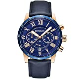 FASHION AND LUXURY STYLE: Classic silver-black dial and fashion rose gold-blue dial with Roman numerals, Luminous hour and minute hands. PRECISE TIME KEEPING: Quartz Movement with date window provide precise and accurate time keeping. QUALITY LEATHER...