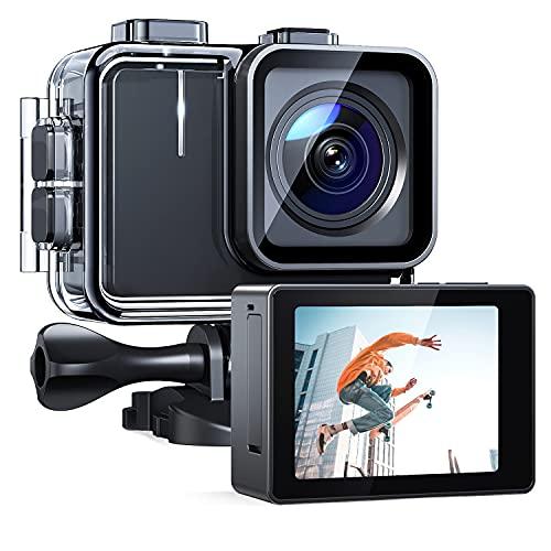 APEMAN Action Cam A100, Nativo 4K/30FPS 20MP WiFi Impermeabile 40M Fotocamera, Avanzato Sensore Super EIS Stabilizzata Videocamera, Telecomando con 2 1350mAh Batterie