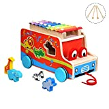 Musical Instruments Set, 3 In 1 Xylophone, Multifunctional Music Toys with 8 Colorful Keys, 6 Cute Animals and 4 Child-safe Wooden Mallets for Kids, by Miric