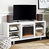Walker Edison Furniture Company Modern Wood and Metal Fireplace Stand for TV's up to 64' Flat Screen Living Room Storage Shelves Entertainment Center, White