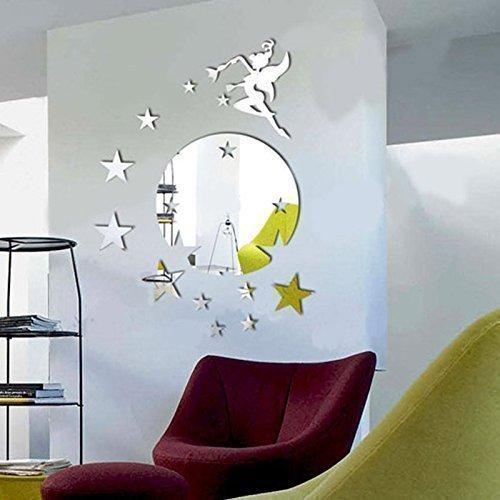 Walplus Spiegel Wandkunst Fliegende Fee Tinkerbell mit Sternen rund Wandaufkleber ablösbar selbstklebend Wandsticker Aufkleber Vinyl Wohndeko DIY Wohnzimmer Schlafzimmer Büro Dekor Kinderzimmer,