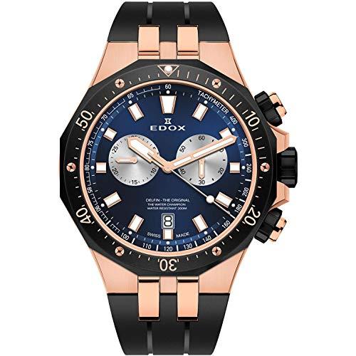 Edox Delfin The Original Herren-Armbanduhr 43mm Armband Kautschuk Schwarz Batterie 10109 357RNCA BUIRA