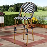 Baxton Studio Ilene Classic French Indoor and Outdoor White and Blue Bamboo Style Stackable Bistro Bar Stool