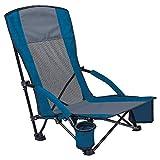 Asteri - Silla de playa baja plegable con bolsa de transporte, tejido Oxford 600D transpirable, respaldo de malla azul/negro