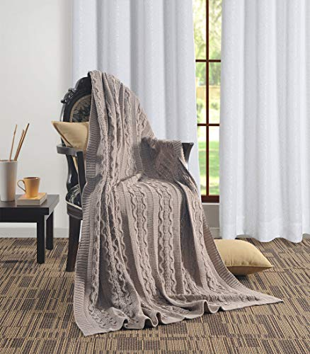 Aztocratic Delight Throw Collection: Cotton Knitted 50 x 70 Inch Throw, Premium Knit Crochet Sweater Texture, Stylish Look Throw for Sofa/Bed or Couch, Throws with Soft and Cozy Feel (Beige)