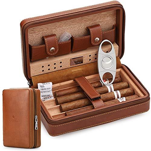 Étui de voyage en cuir avec coupe-cigares et humidificateur,...