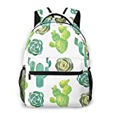LNLN Mochila Casual para niñas Watercolor Cactus & Succulent Laptop Backpack School Backpack for Men Women Lightweight Travel Casual Durable Daily Daypack College Student Rucksack 11 5in X 8in X 16